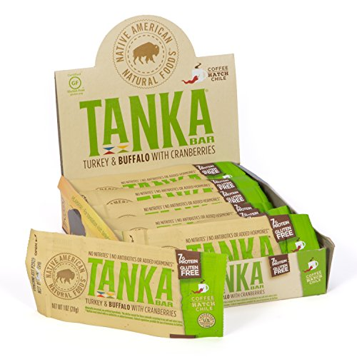 Tanka Meat Bar with Turkey, Buffalo and Cranberries by, Coffee Hatch Chile, Beef Jerky Alternative, Gluten Free Snacks, 1 Ounce Bar, Pack of 12