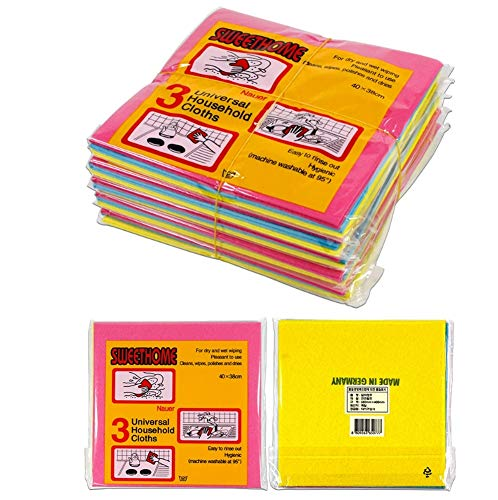 [15 packs]German Universal Household Color Dish cloths (3 Colors, 15p, 400 mm x 380 mm Wide Sized), Machine Washable Super Absorbent, Drying Eco-Friendly Non-woven Fabric Kitchen Cleaning Cloth ()