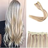Full Shine 16inch 100% Fish Line Human Hair Extensions Fish Wire Style Halo Extension Color #18/613 Caramel Blonde & Blonde 80 grams Fish Line Hair Extension
