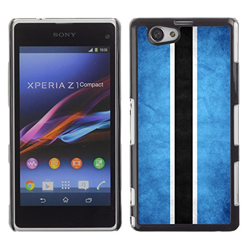 Omega Case Strong & Slim Polycarbonate Cover - Sony Xperia Z1 Compact ( Botswana Grunge Flag )