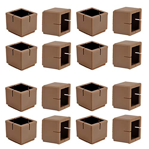 (Chair Leg Floor Protectors, WarmHut 16pcs Brown Silicone Table Furniture Leg Feet Tips Covers Caps, Felt Pads, Prevent Scratches, Wood Floor Protector (Square)(Brown))
