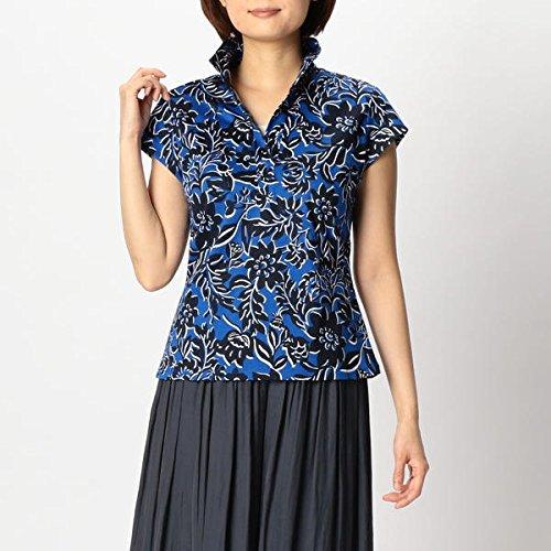 ナラカミーチェ(NARACAMICIE) トロピカルフラワープリントスタンドカラーカットソーシャツ B07D4RC6CX  ブルー 1(M)9号