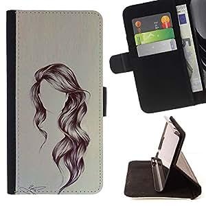 Momo Phone Case / Flip Funda de Cuero Case Cover - Peinado Arte ondulada Retrato Anónimo Belleza - Sony Xperia Style T3