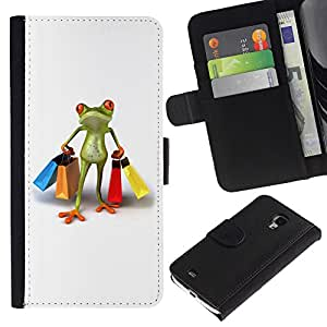 For Samsung Galaxy S4 Mini i9190 MINI VERSION!,S-type® Clothes Shop Frog White - Dibujo PU billetera de cuero Funda Case Caso de la piel de la bolsa protectora