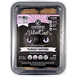 Vital Essentials Freeze Dried Turkey Entree, Freeze Dried Mini Patties Cat Food (Fast Free Delivery)