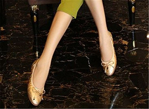 Shoes Bowknot Ballet Single Women Fashion Gold Casual Slip on Dolwins Round Flats Toe qBPFwSp