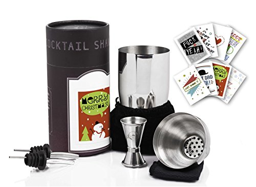 Personalized case for Cocktail shaker 24oz set with cylinder color box and a variety of 8 chic designed label stickers included FREE The Best dedicated DIY christmas gift for cocktail lovers