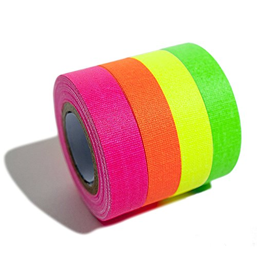 4-Pack Fluorescent Neon Gaffer Tape UV Blacklight Reactive Cloth Tape for Holiday Decorations, Glow Dance Party, New Year -