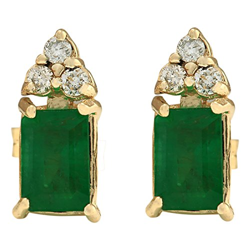 (1.6 Carat Natural Green Emerald and Diamond (F-G Color, VS1-VS2 Clarity) 14K Yellow Gold Earrings for Women Exclusively Handcrafted in USA )