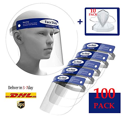 100Pcs Safety Face Shield Medical Reusable Full Face Transparent Breathable Visor Protection from Splash and Splatter