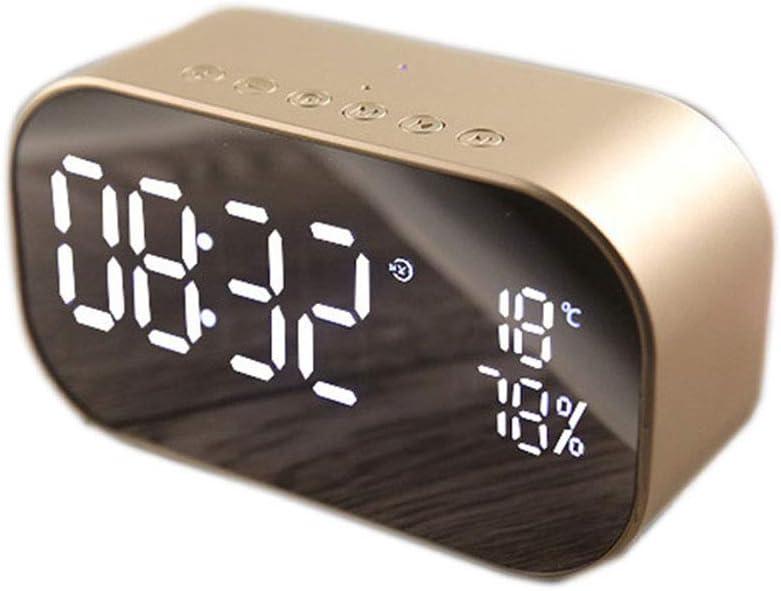 Dengofng - Reloj despertador digital con pantalla Bluetooth, superficie de espejo, doble altavoz, inalámbrico, para dormitorio, mesita de noche, oficina, No nulo, dorado, Tamaño libre