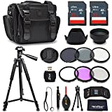 Premium 55mm Accessories Bundle Kit for DSLR Cameras - Includes 64GB Memory Card, Premium Camera Case, 72 inch Tripod, 55mm ND Filters, 55mm 3 Piece Filter Kit, 55mm Lens Hood + More