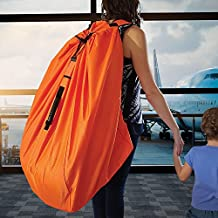 Car Seat Travel Bag Made of Ultra HEAVY-DUTY Material - Padded Double Shoulder Straps - Strong Rubber Handle - Unique System of Attached Carrying Pouch. Great for Airport Gate Check and Storage.