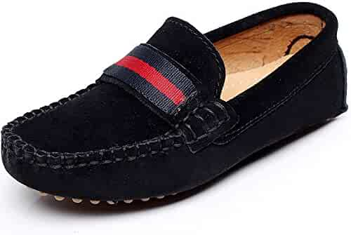 1841645273f Shenn Boys Girls Cute Strap Slip-On Comfortable Dress Suede Leather Loafer  Flats