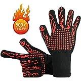 NEXCURIO BBQ Cooking Gloves 1472°F Heat Resistant Glove, Protective Non-Slip Oven Mitt Extreme Heat Resistant Grilling Glove for Barbecue, Cooking, Baking, Welding, Cutting, 1 Pair (Red torch)
