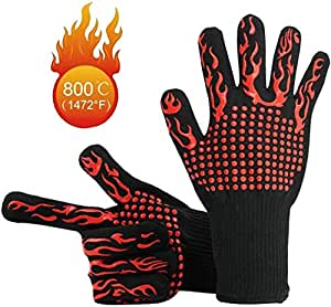 NEXCURIO BBQ Cooking Gloves 1472°F Heat Resistant Glove, Protective Non-Slip Oven Mitt Extreme Heat Resistant Grilling Glove for Barbecue, Cooking, Baking, Welding, Cutting, 1 Pair (Red torch)