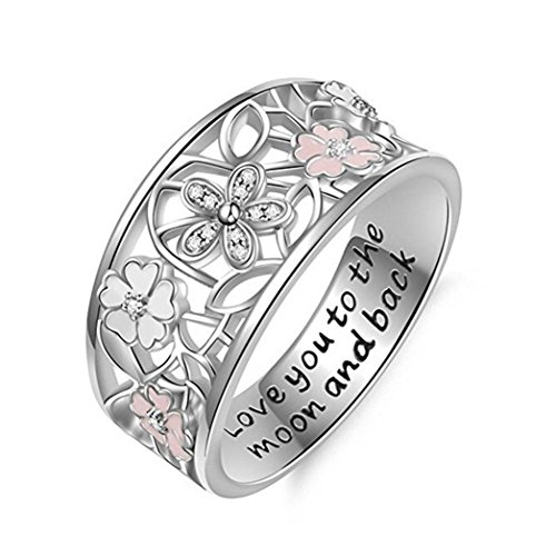 Women Ladies Chic Blossoms Carved Hollow Crystal Ring Wedding Engagement Band Ideal Gift for Her (Silver, 10)