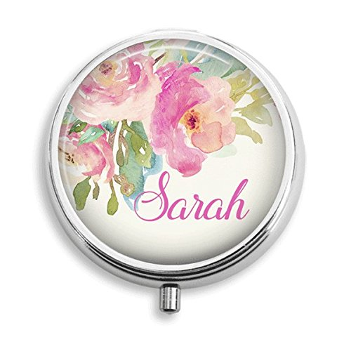 Personalized Pink Watercolor Floral Pill Box Pill Holder Pill Case Medicine Holder Mint Tin Vitamin Holder Small Craft Container Handmade Gifts For He…