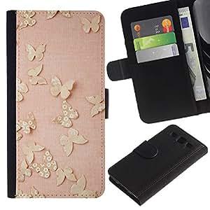 SAMSUNG Galaxy S3 III / i9300 / i747 Modelo colorido cuero carpeta tirón caso cubierta piel Holster Funda protección - Gold Butterflies Pink Spring Cute Clean