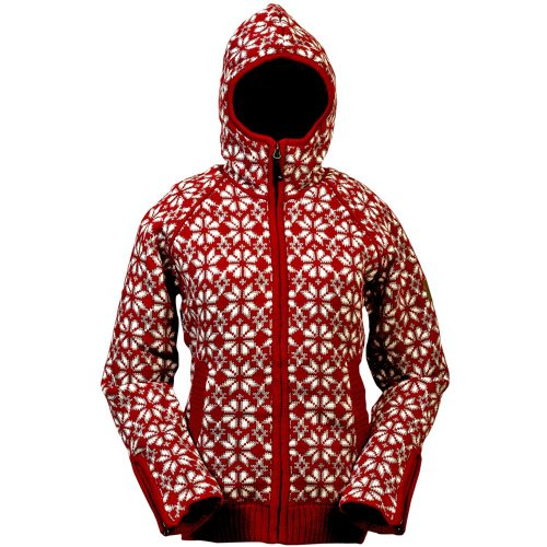 ICEWEAR Helga Nordic Design Hooded Wool Sweater Jacket for Women (red)
