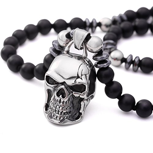 PEARLADA Black Onyx Skull Pendant Necklace Stainless Steel Handmade Gemstone Gothic Hematite Beads Jewelry for Men