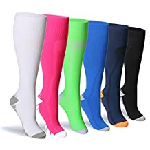 Compression Socks For Women and Men - 20-25mmHg- 6 Pairs BEST Stockings for Running, Athletic, Edema, Diabetic, Varicose Veins, Travel, Pregnancy & Maternity
