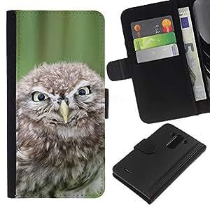 BearCase / Cuero de la tarjeta la carpeta del tirón Smartphone Slots Protección Holder /// LG G3 /// Malvada divertida del búho