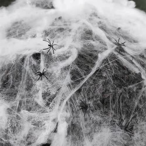 Halloween Spider webs Stretch 300 Square feet for Indoor or Outdoor courtyards, shrubs, lawns and Party Decorations with 30 Fake Spiders