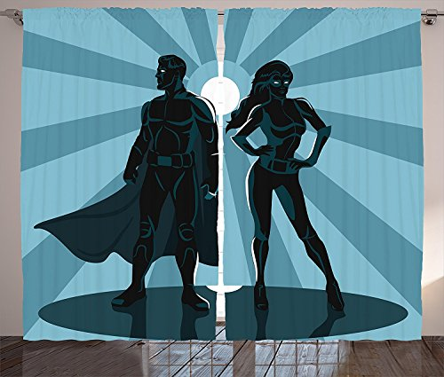[Superhero Curtains 2 Panel Set Man and Woman Superheroes Costume with Masks and Capes Night Protector in Moonlight Living Room Bedroom Decor Blue] (Famous Superhero Costumes)