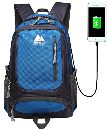 ProEtrade Water Resistant Outdoor Laptop School Backpack With USB Charging Port (Dark Blue)