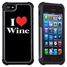 Maximum Protection Cell Phone Case / Cover with Cushioned Corners for iPhone 4 & iPhone 4S - Heart Wine
