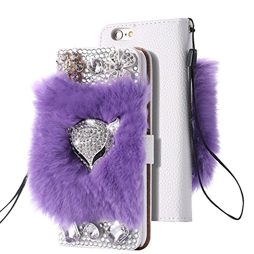 Rejected all traditions Luxury Rhinestone Diamond Plush Fox Head Flip Leather Rabbit Fluffy Fur Bling Wallet Cover Case for Apple iPhone 7 4.7 Inch - Purple for $<!--$7.30-->