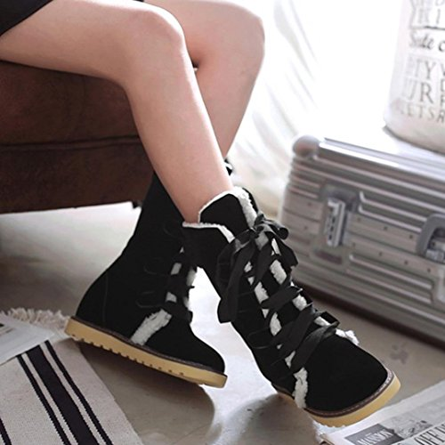 Boots Ankle Fashion Snow Casual Boots Female Woman Black erthome Women Winter Bandage Shoes B81wwq4