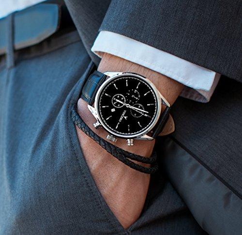 ea9905d37a5 Montre bracelet de luxe Vincero Chrono S pour homme - Noir Argent avec  bracelet en cuir noir - Montre Chronographe 43mm - Mouvement à quartz  japonais  ...