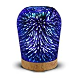 Loskii LH-963 3D LED Lights Oil Diffuser Ultrasonic Cool Mist Aromatherapy Humidifier 16 Color Changing Starburst Light Lamp 100ML Volume Humidifier (Plug EU plug)