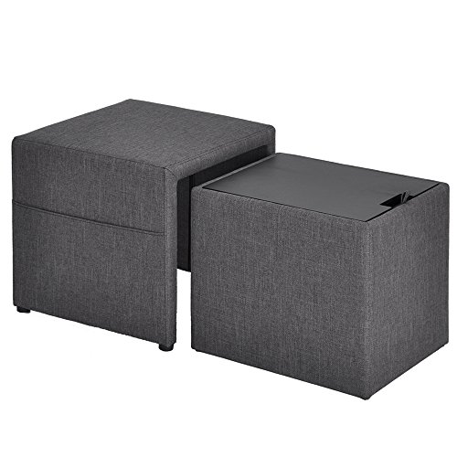 HOMY CASA 17'' Storage Ottoman w/Pull Out Drawer & Side Pocket - Gray Linen - Square Foot Rest Stool, Small Cube Table Ottomans by HOMY CASA (Image #7)