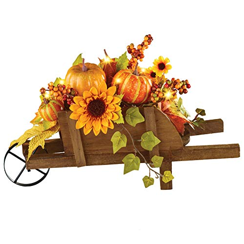 Collections Etc Lighted LED Autumn Rustic Wagon with Pumpkins and Sunflowers Thanksgiving Tabletop Centerpiece (Pumpkins Fall With Arrangements)
