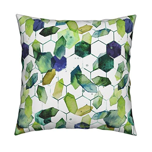 (Roostery Watercolor Jade Linen Cotton Throw Pillow Watercolor Home Decor Jade Jewels Watercolor Geometric Modern Home Decor Abstract Diamonds by Karismithdesigns Cover and Insert)