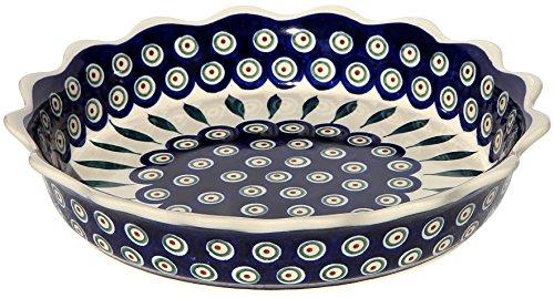 (Polish Pottery Quiche/Scalloped Pie Dish From Zaklady Ceramiczne Boleslawiec #1765-56 Peacock Pattern, Diameter: 9