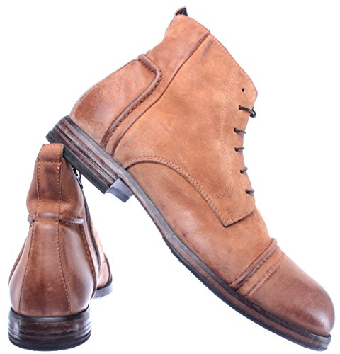 64702 Chaussures Homme Italy MOMA Vintage Ambre Made New Bottines Pelle R1 Amber qRSxw67x