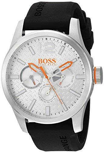 HUGO-BOSS-Mens-PARIS-Quartz-Stainless-Steel-and-Rubber-Casual-Watch-ColorBlack-Model-1513453