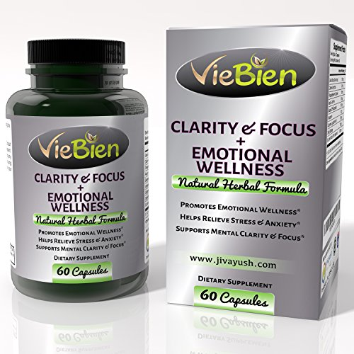 Ginkgo Biloba Focus Brain Supplement Stress Relief- Viebien St. John s Wort for Natural Mental Clarity and Emotional Wellness, 60 Capsules for Adult