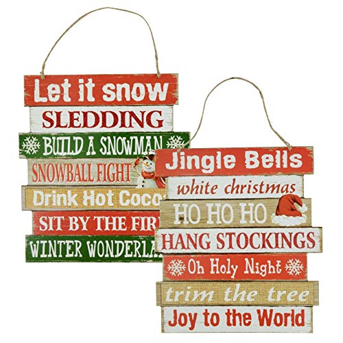 Christmas Decor Sign - Winter Hanging Wood Signs - Let it Snow/Jingle Bells - Set of 2