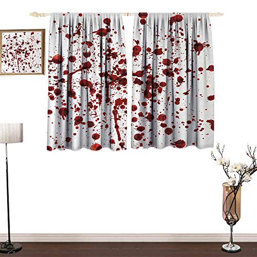 guohua Horror Comfortable Space curtainSplashes of Blood Grunge Style Bloodstain Horror Scary Zombie Halloween Themed Print2 Panels Drapes for Living Room Bedroom Set W84 x L84 Red White
