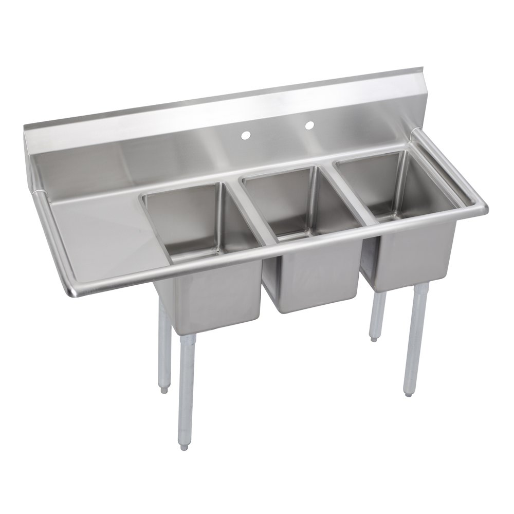 Elkay Foodservice 3 Compartment Sink, 48.5''X19.75'' OA, 36'' Working Height, 10X14 Bowl, 10 Deep, 10.75'' Backsplash, Left 12 Drainboards, 8'' On Center Faucet Hole, Galvinized Legs, Adjustable Feet, 16 Gauge 300 Series Stainless Steel, NSF Certified