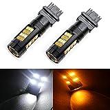 Grandview 420 Lumens 3157 3057 3157A 3357A 2825 42 SMD Amber/White Switchback Turn Signal LED Light Bulbs 12V LED Super Bright 6000-6500K Brake Light (Pack of 2)