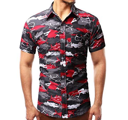 Men's Casual Hawaiian Shirts Print- Slim Fit Party Aloha Short Sleeve Gray M ()