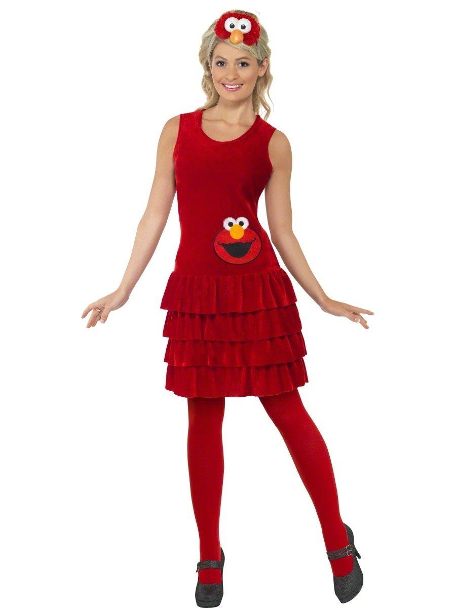 Smiffys Damen Elmo Kostüm, Kleid und Haarreif, Sesamstraße, Größe ...