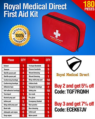 Royal Medical Direct 180-Piece First Aid Kit - Hospital-Grade Emergency Medical Supplies for Traveling, Hiking, Camping, Home, or Auto - Portable, Lightweight and Travel Ready