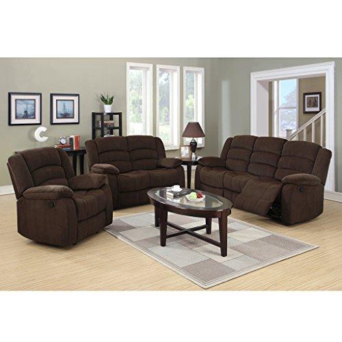 LANGRIA Upholstery Loveseat Sofa Couch, 1+2+3 Reclining Velvet Sofa Recliner  Chair Set, Split Back, Manual Reclining Mechanism, Pillow Top Backrest And  ...
